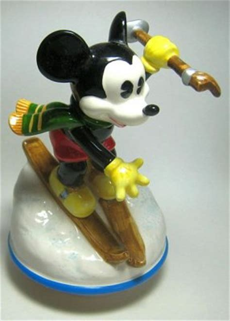 Mickey Mouse skiing downhill music box from our Schmid