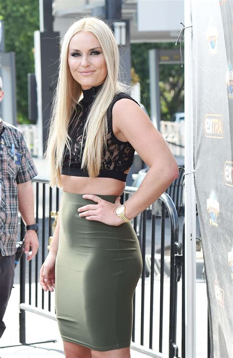 Lindsey Vonn on the set of Extra in Los Angeles