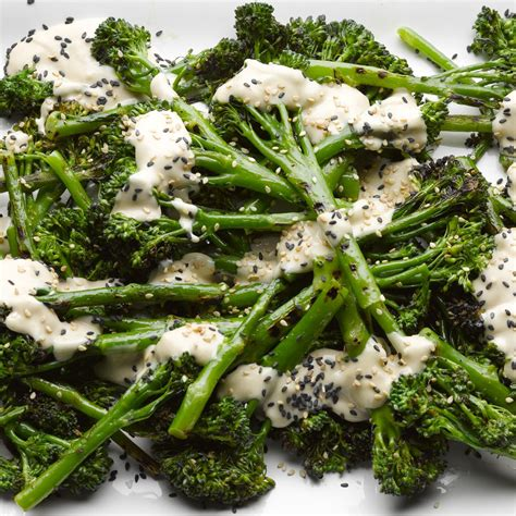 Char-grilled sprouting broccoli with sweet tahini   Recipe