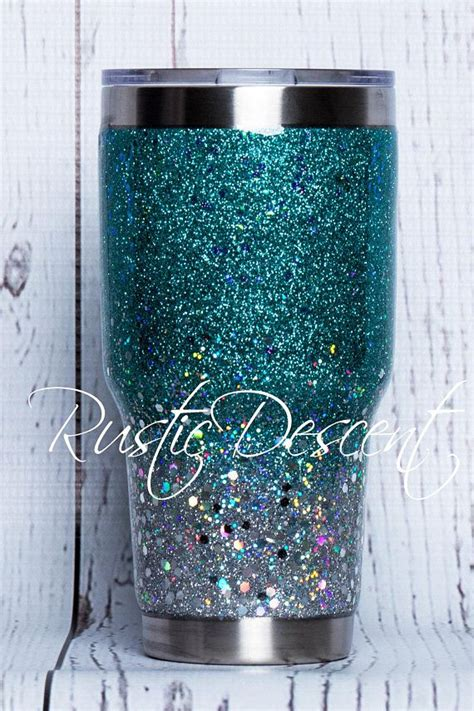 30 oz Carribean Blue to Silver Ombre with Chunky Glitter
