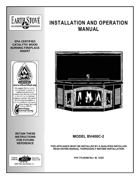 EarthStone EARTH STOVE BV400C-2 User Manual | 28 pages